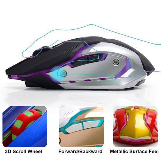 2.4GHz recarregável LED retroiluminado óptico USB ergonómico silencioso Gaming Gamer mouse 2400dpi 6 botões GXD PC Portátil