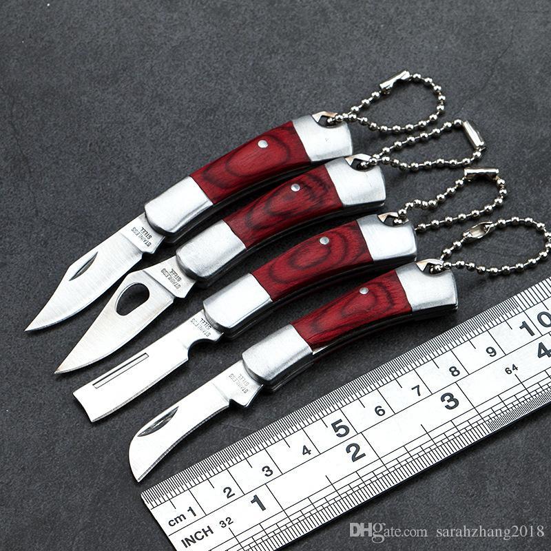 Promotion!!! Cadeau Pliant Couteau De Poche En Bois Manche Porte-Couteau Utilitaire EDC Outils Livraison Gratuite