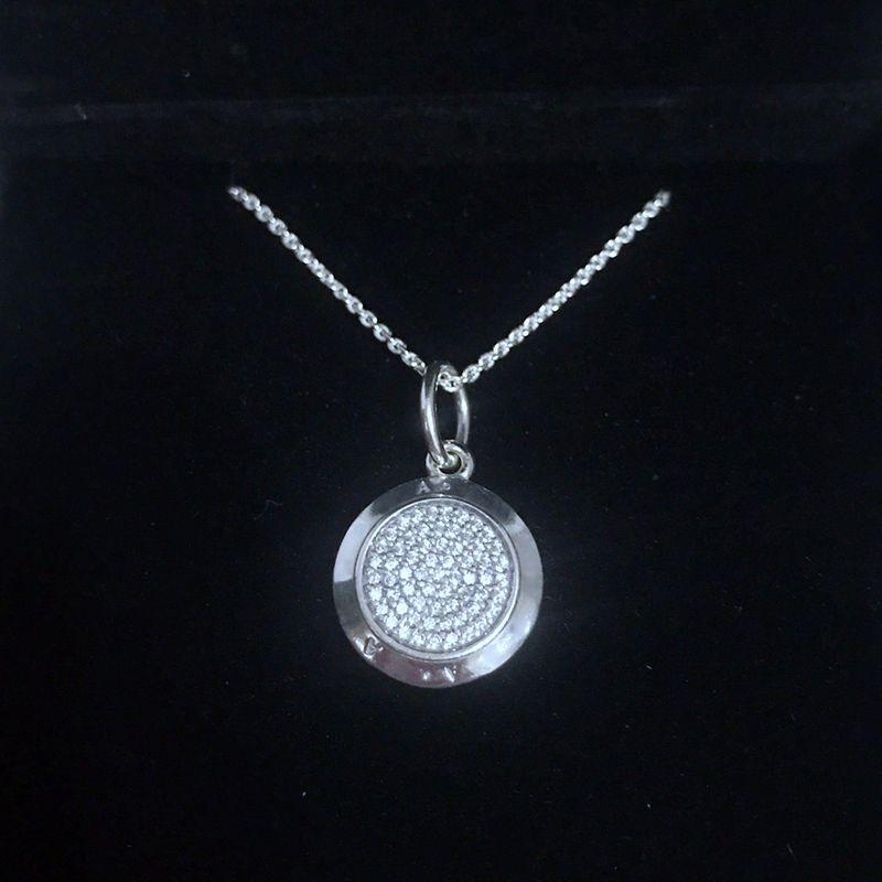 판도라 원래 상자에 정품 패션 라운드 펜던트 목걸이는 하나의 제품 925 스털링 실버 CZ 다이아몬드의 매력 펜던트 여성을 설정