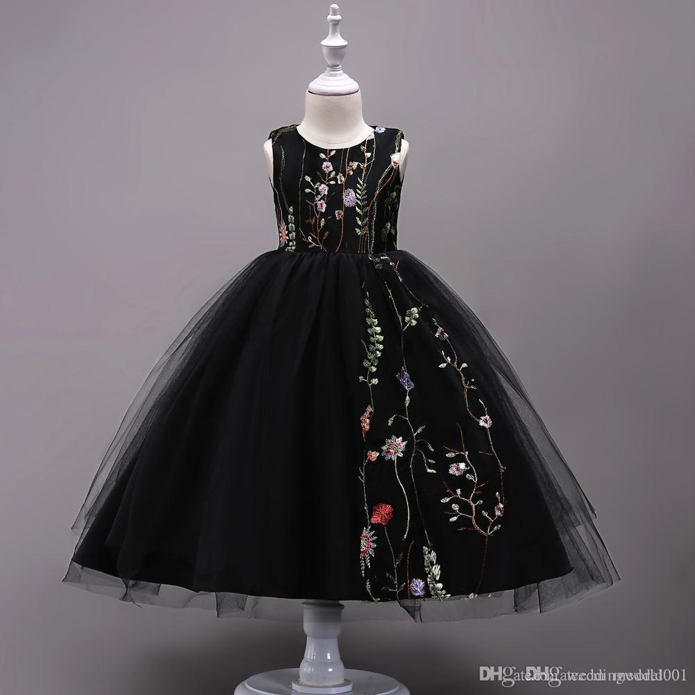 Çocuk Giyim Çocuk Düğün Doğum Elbiseler Flower ile Yeni Kız Pamuk Kolsuz Prenses Elbise