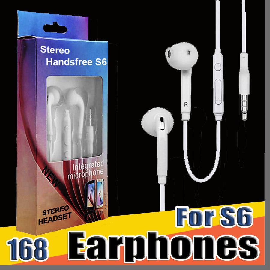 168 DHL S6 S7 fone de ouvido Fones de ouvido J5 auscultadores Earbuds fone de ouvido para Jack In Ear com fio Com Mic Volume Controle 3,5 milímetros pacote de varejo E-EJ