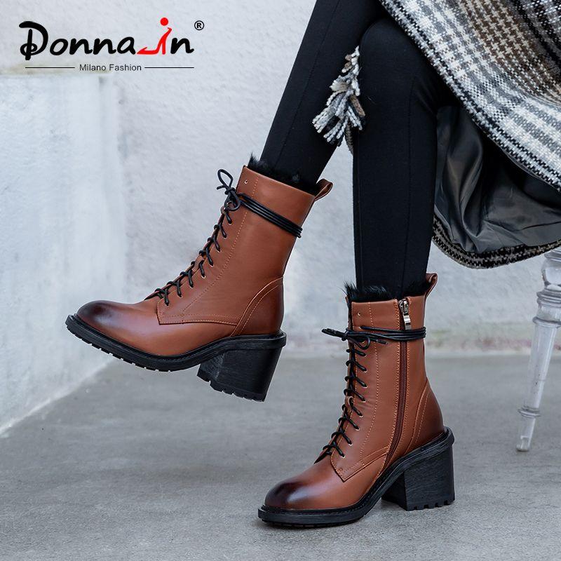 Donna-tacchi alti metà polpaccio stivali per le donne reali in pelle Plus Size inverno caldo Breve peluche Zip Shoes Fashion Party Botas mujer
