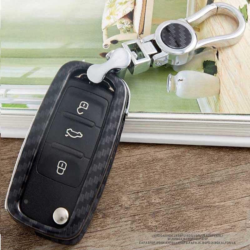 car key Case for volkswagen vw polo golf 4 5 6 7 passat B8 b6 b5 tiguan caddy Skoda Octavia key covers holder bags Shell Carbon