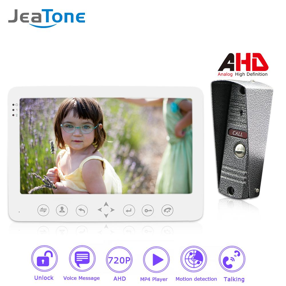 JeaTone 720P/AHD 7'' Video Door Phone Intercom Door Bell Security Access System Voice message/Motion Detection/MP4 Player