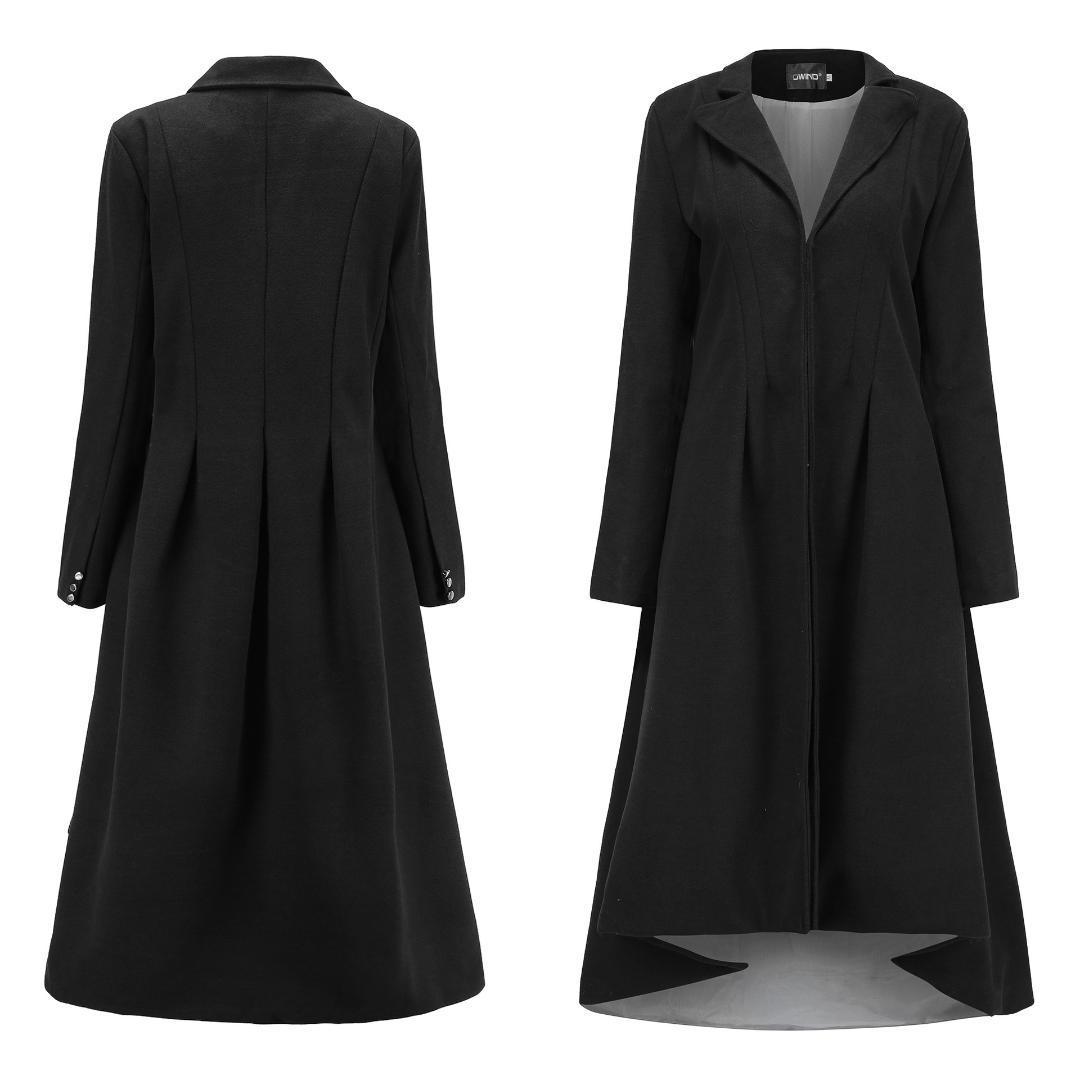 Autunno Inverno Donna Swallowtail Lana Lungo nero Trench Dress Cappotti Slim Blazer Dress 4XL 5XL Plus Size Allentato Goth Trench Outwear