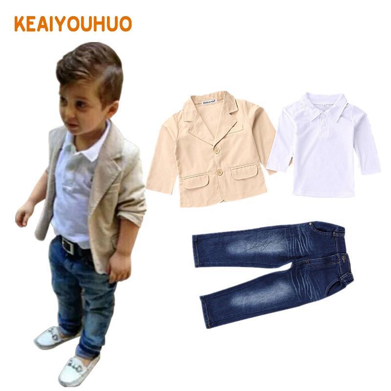 2-8 Jahre Kinder Kleidung 2019 Neue 3 stücke Kinder Jungen Kleidung Sets Mantel Jacke T-shirt Hosen 3 Stücke Mode Sport Anzug Sets J190513