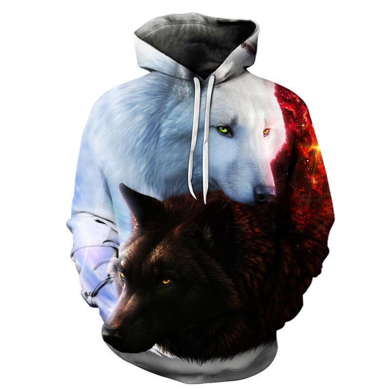 Животное Streetwear Толстовка Мужчина 3d толстовки Wolf Printed Марка Толстовка Мальчик Куртка Качество пуловер Мода костюмы Streetwear Out Coat