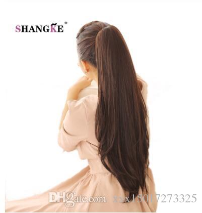 24'' Pure Color Long Straight Ponytail Claw Drawstring Ponytail Synthetic Heat Resistant Clip In Hair Extensions