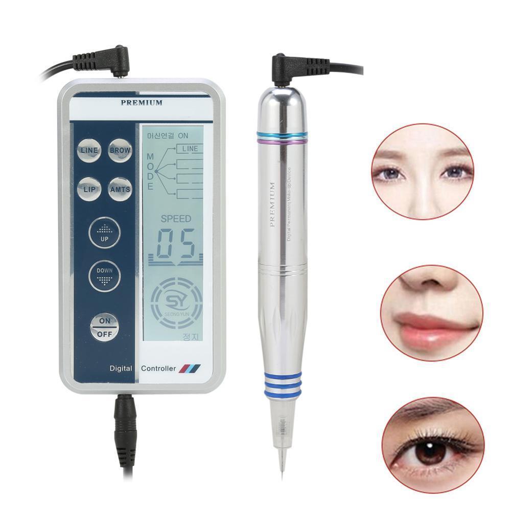 Высший сорт Перманентный макияж Цифровая ручка Профессиональный набор для татуировок с подводкой для губ и бровей + Пистолет для игл с микроблейдингом