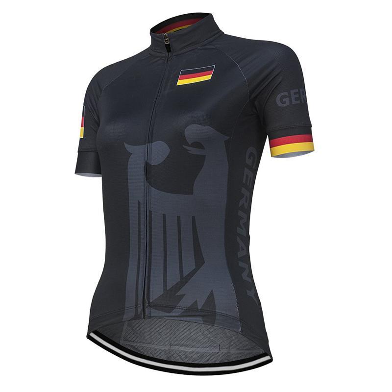 YENİ Takım Almanya Kadınlar Siyah Bisiklet Jersey Kısa Kollu Bisiklet Yolu Dağ Yarışı Bisiklet Giyim Özelleştirilmiş Tops