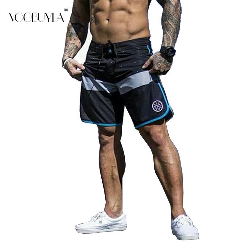Voobuyla Running Shorts Men Training Marathon Quick Dry Fitness Gym Printing Sport Shorts Patchwork Plus Running Jogger