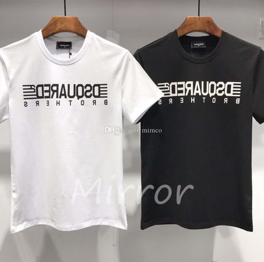 20ss лето новое поступление высокое качество тройники Мужская одежда D2 мужская футболка значок печати модные футболки мужская футболка 5d37#