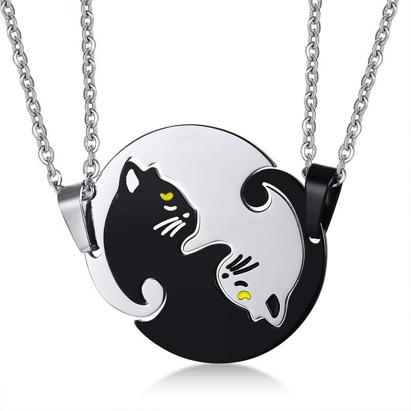 2pcs Couples Stainless Steel Matching Cute Cat Puzzle Pendant Necklace For Lovers Valentine's Day Gift 20inch Free Chain