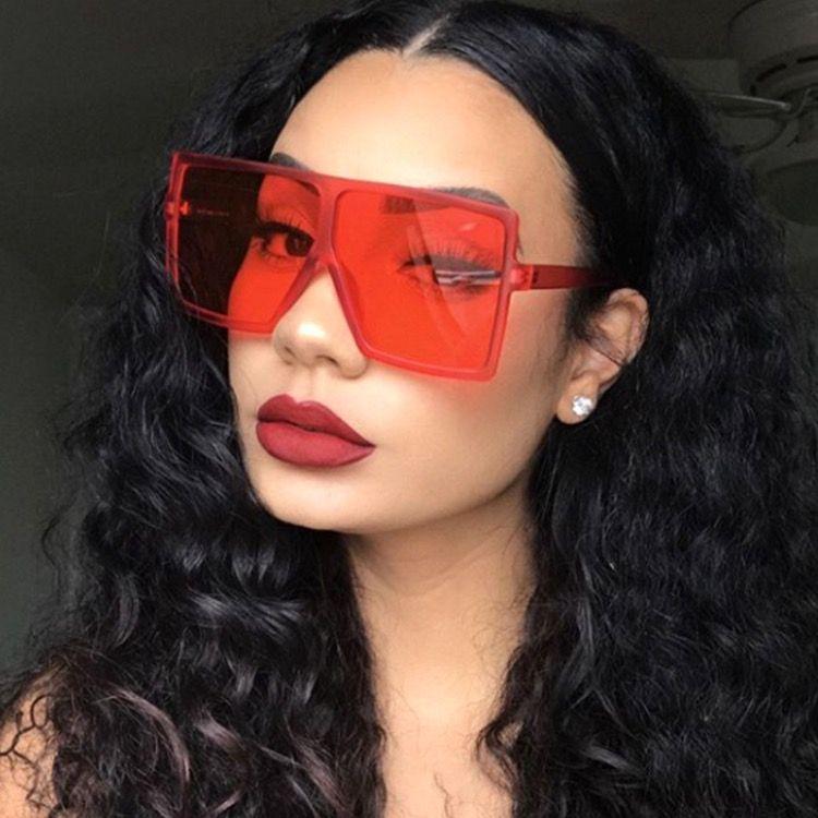 39 Farben Aktualisiert Ins Mode Sonnenbrillen Große übergroße Sonnenbrille für Frauen und Männer PC Square Rahmen Metallscharnierfarben Großhandel