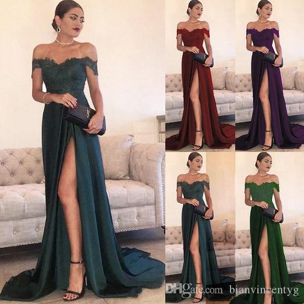Mode Split-Abend-Kleider eine Linie Chiffon- für Damen Schulter Fußboden-Länge High-Side-Split-Spitze-elegantes langes Abendkleid formale Partei-Abnutzung