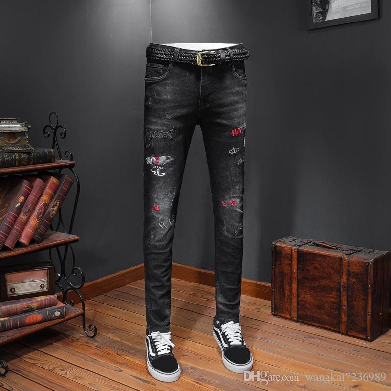 2019 New Designer Jeans pour Homme Worn Tight Leggings Vêtements de luxe Slim Locomotive Moto Biker Hip Hop Ripped Skinny Jeans A230