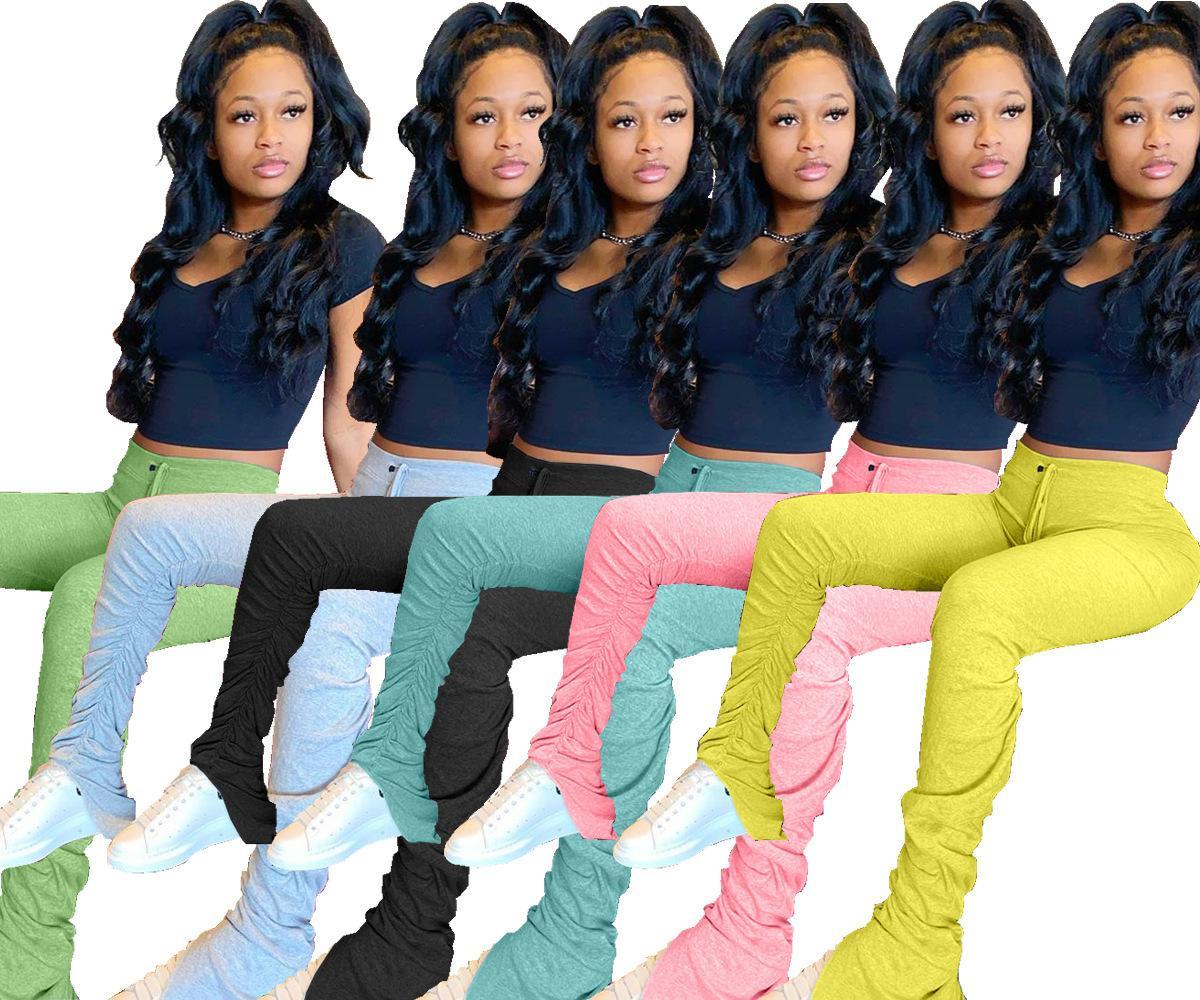Femmes Flare Pants Ladies Stacked Joggers plissé Sweatpants Pantalon taille haute de Split Cloche Pantalons Bas Crayon Femmes Vêtements T196