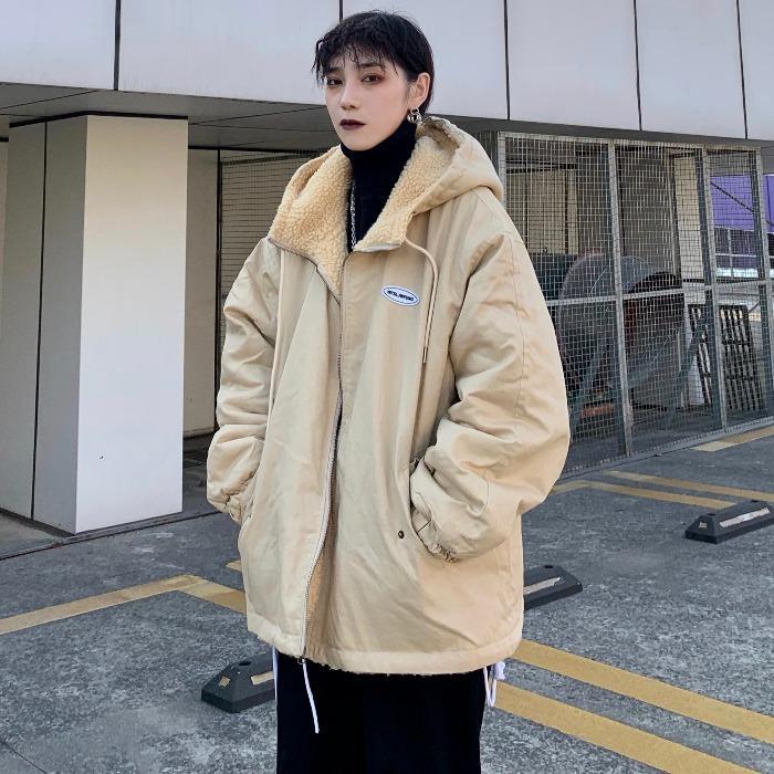 Versión coreana de la caída y la chaqueta del invierno Ins retro Llanura carga suelta BF viento con capucha de la chaqueta acolchada reversible para hombre y para las mujeres-