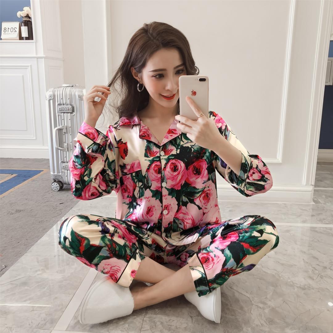 Kadınların gündelik kıyafeti takım elbise Sonbahar Bayanlar Seksi Saten İpek Pijama Uzun Kollu Pijama Mujer pijama kadın + Pantolon Tops ayarlar