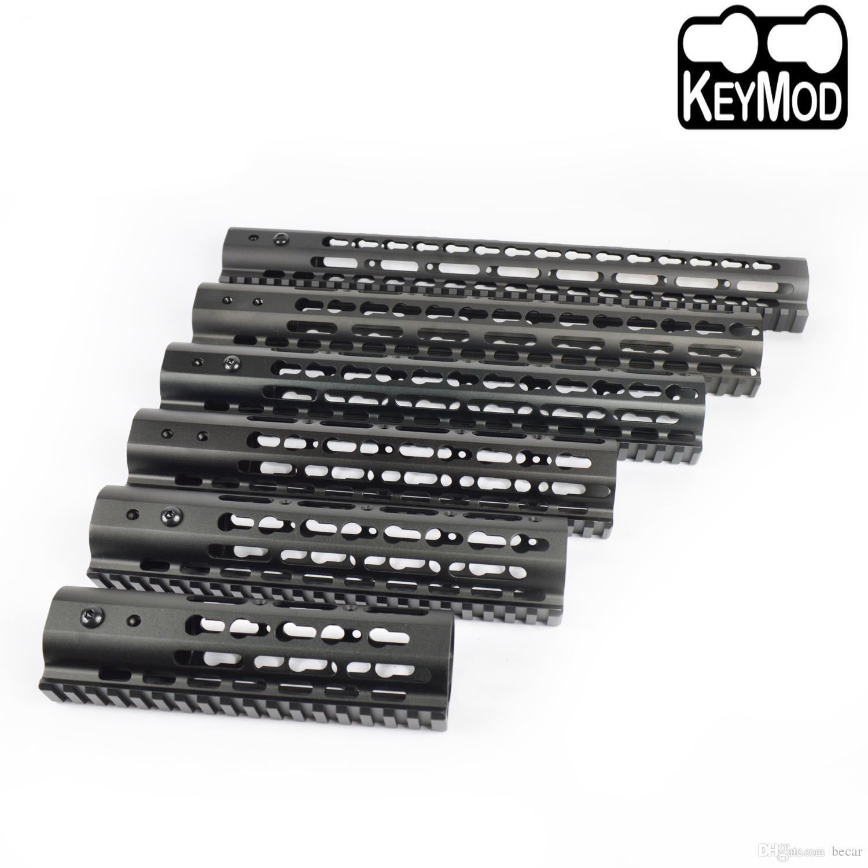 7,9,10,12,13.5,15 pulgadas Diseño ultraligero Free Float Keymod Handguard Monolithic rail superior color negro