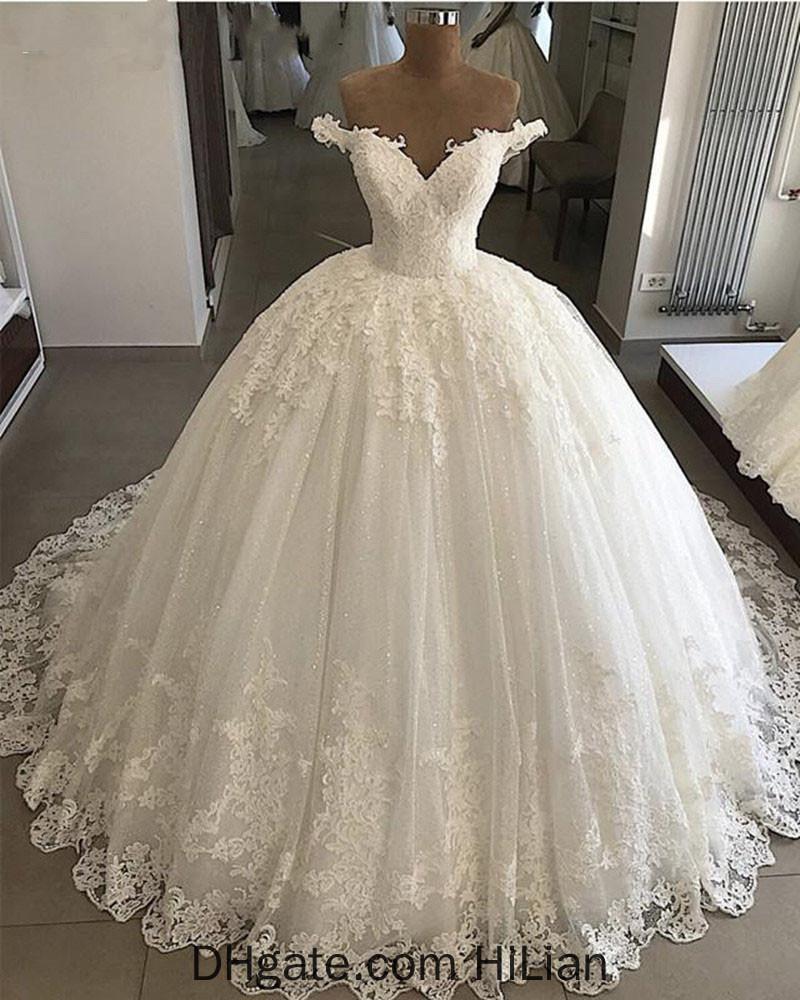 Vestido De Noiva Wedding Dresses 2020 Ball Gown Off Shoulder Sweetheart Glitter Lace Saudi Arabic Bride Dress Wedding Gown