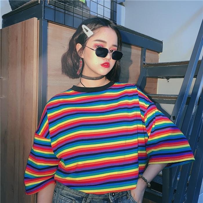 Harajuku streetwear Kadın Giyim Yaz ROUPAS ulzzang Kore moda kısa kollu Gökkuşağı çizgili beden Tişörtler gevşek