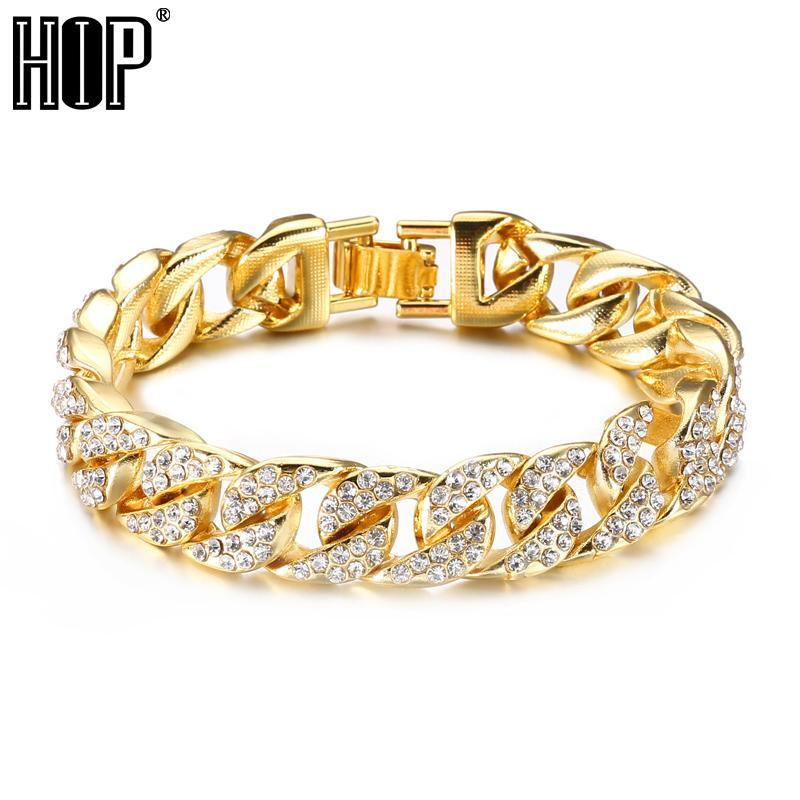 Hip Hop Bling Iced Out Men's Rapper Bracelet Full Rhinestone Pave Gold Color Miami Cuban Link Chain Bracelets for Men Jewelry