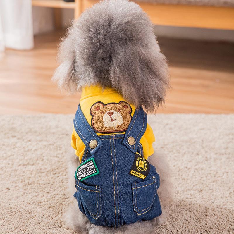 De diseño para mascotas ropa para perros 2 pieza Trajes perros pequeños de peluche rojo cuatro patas del animal doméstico del paño de la venta caliente de los accesorios del perro del animal doméstico 2020 ropa de lujo