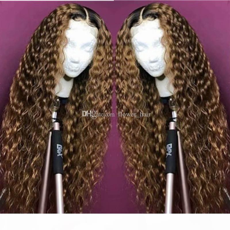 Brazilian Non-Remy Hair Ombre 1B 27 Цвет Глубокая Волна Полный Кружева Человеческие Волосы Парики волос с Детские Волосы Средняя Часть Натуральная Натуральная линия
