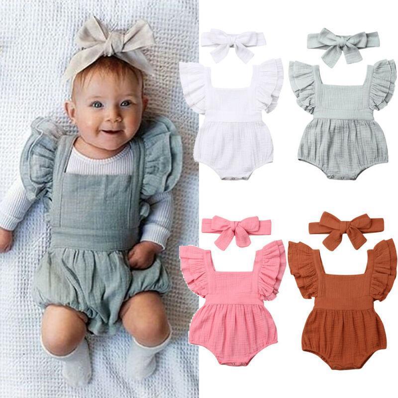 2019 nouveau-nés Enfants bébé Romper manches courtes en coton à volants Jumpsuit Salopette vêtements d'été 0-18m