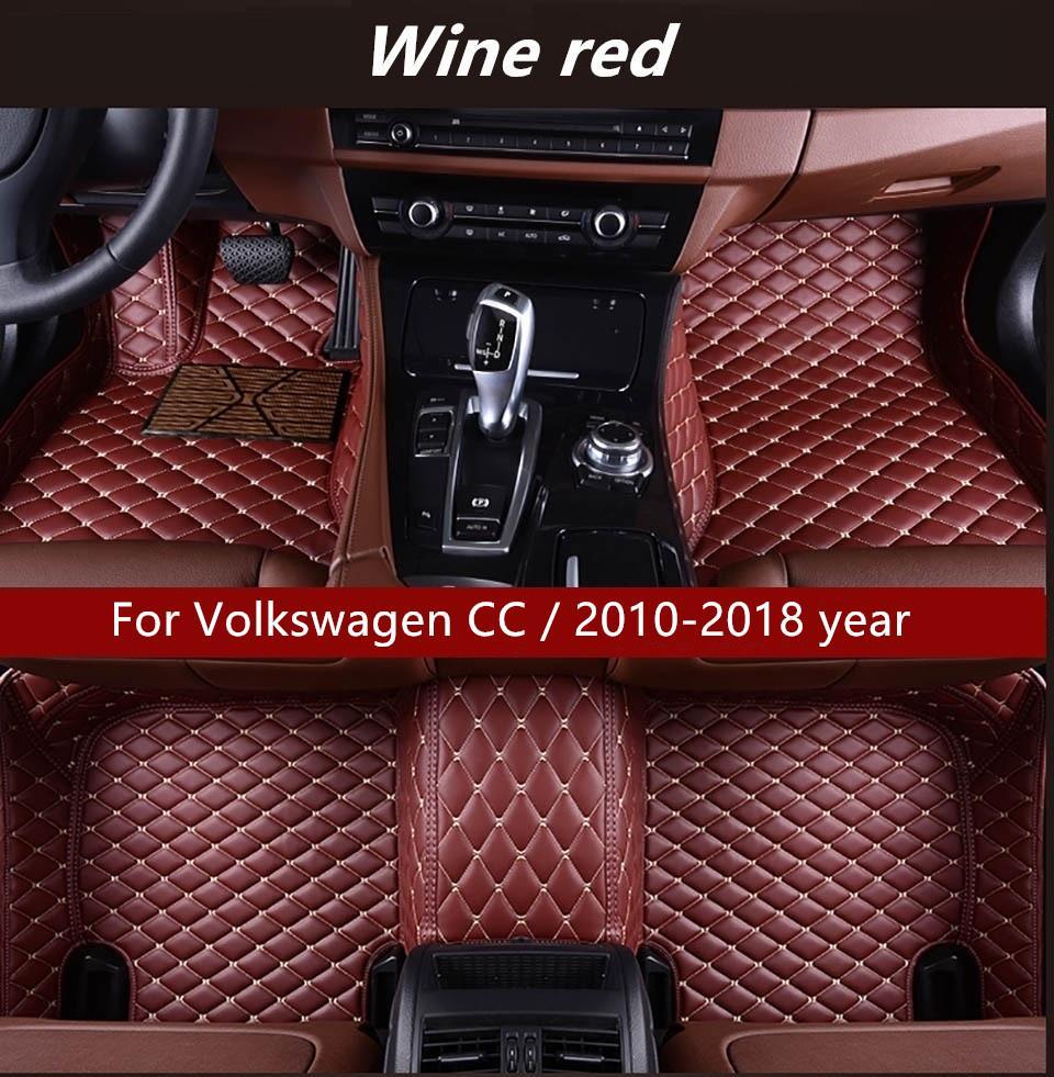 Volkswagen CC için / 2010-2018 yıl Araba İç Ayak Mat Kaymaz Çevre Koruma Tatsız Toksik olmayan Kat Mat