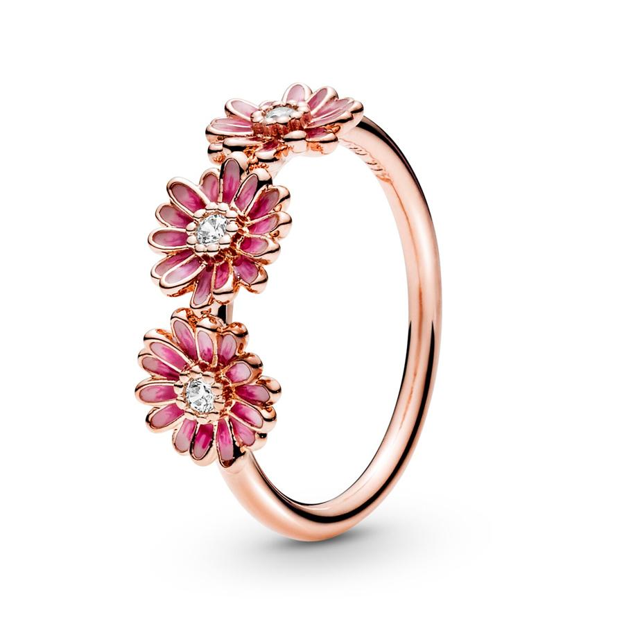 authentic 925 sterling silver ring pink enamel daisy flower trio ring for women wedding ring set pandora jewelry with logo and original box wedding rings sets loose diamonds from yoyija 8 88 dhgate com dhgate com