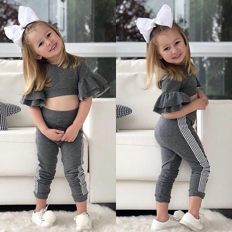 أطفال مصمم ملابس الفتيات يتسابق الأطفال مضيئة كم قمم + السراويل 2 قطعة / المجموعة 2019 ربيع الخريف ملابس الطفل مجموعات