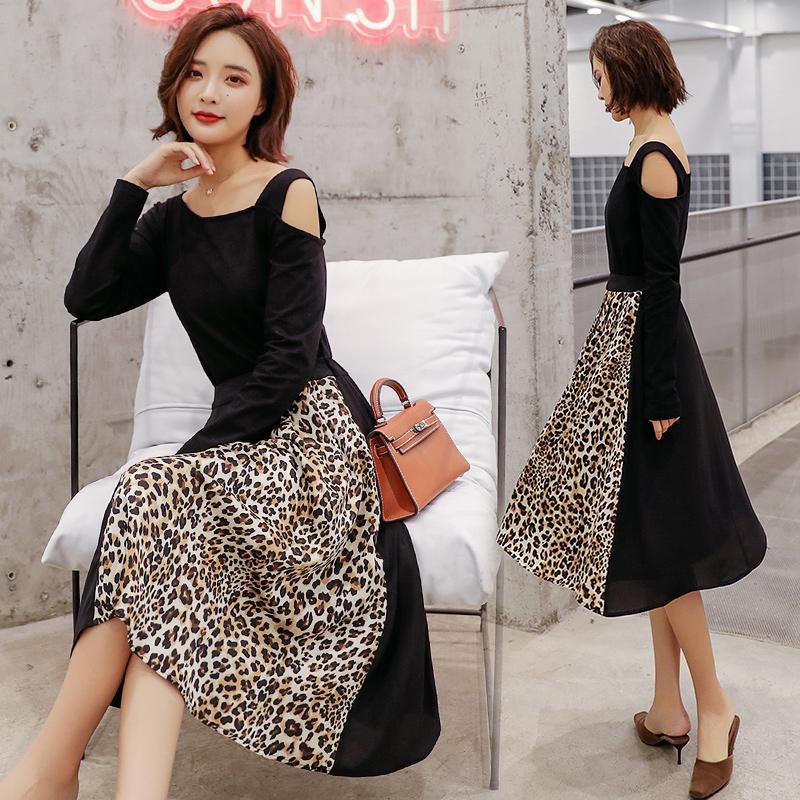 2019 Весна мода новый 2 шт. наборы женщин с длинным рукавом футболка блузка и леопард юбки костюмы