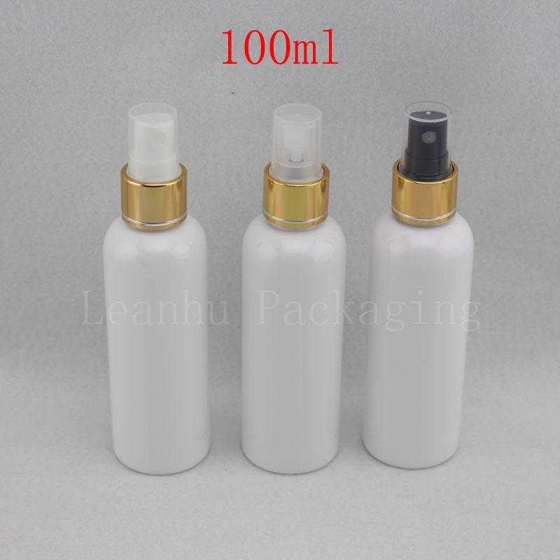 100ml botella de plástico blanco de Oro Bomba de pulverización, 100cc pequeña botella de perfume con bomba del pulverizador de plata, Viajes Embalaje de contenedores