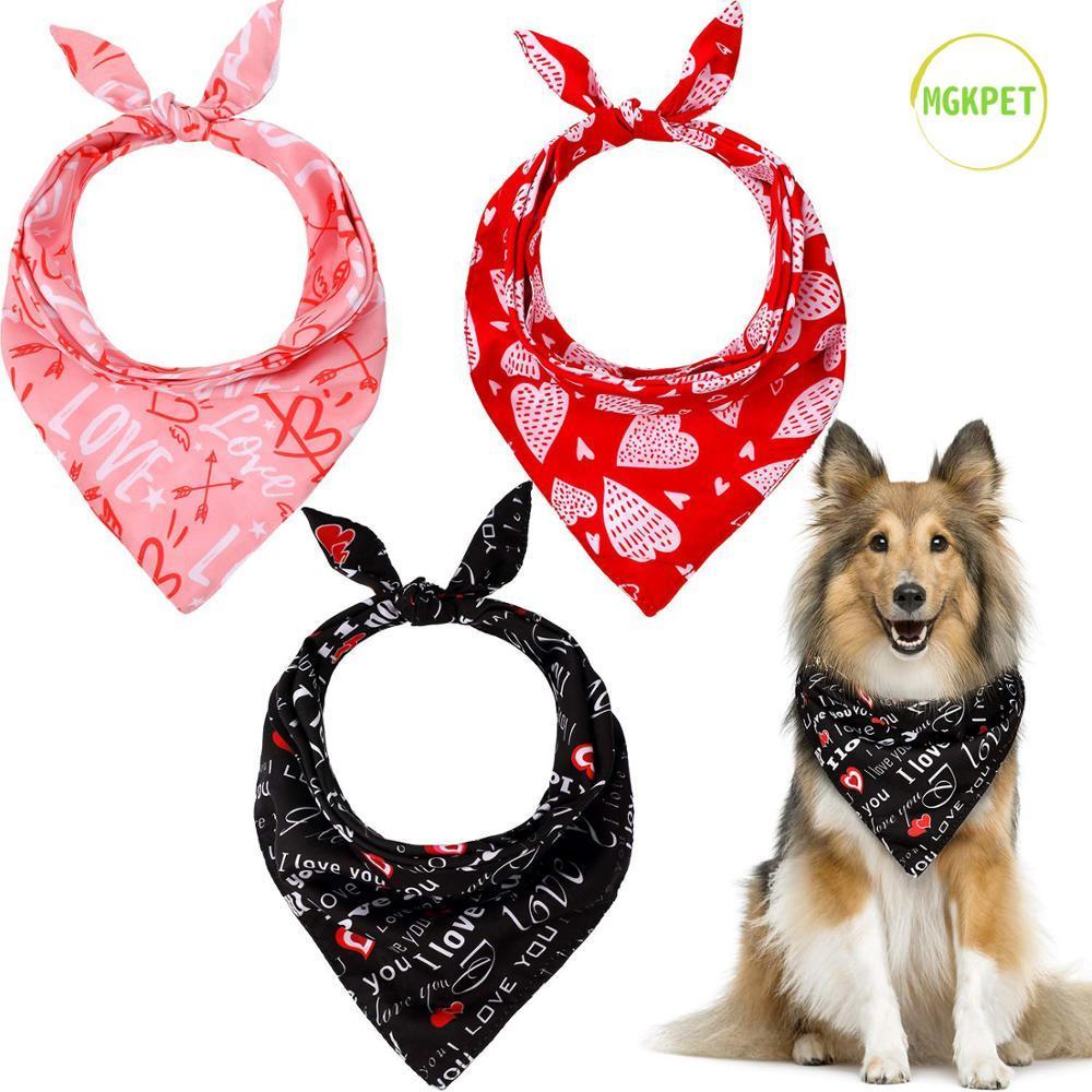 발렌타인 데이 개 두건 웨딩 삼각형 개 스카프 세척 양면 인쇄 사랑 - 심장 앞치마 개 스카프 세트