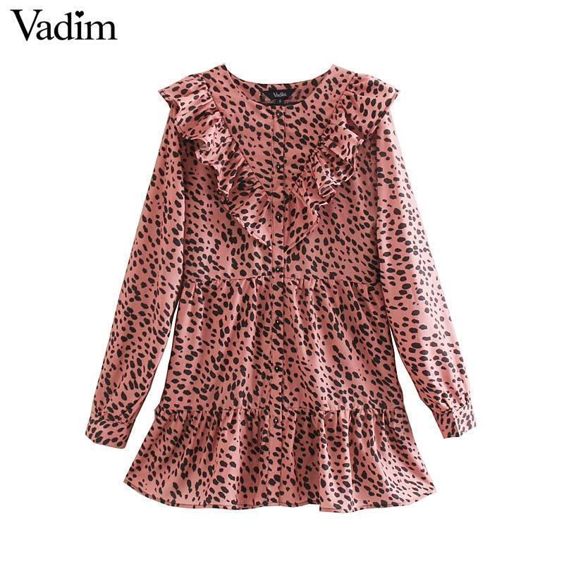 Vadim Femmes Élégant Imprimé léopard mini Robe Modèle animal Ruches À Manches Longues Femme Casual robes droites QC860