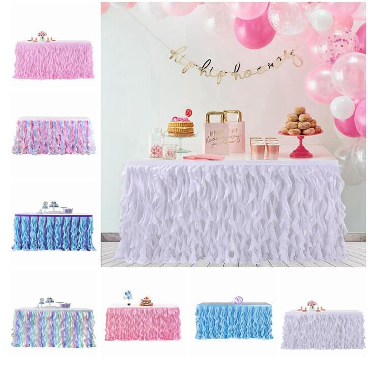 Tablas Tabla boda de la falda del tutú del banquete de boda decoración de la tabla de textiles trapo Tabla Faldas Rectangular Redonda Manteles Accesorios DHD354
