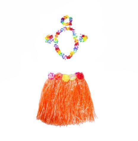 Robe fantaisie hawaïen fleur Lei Collier Garland Bandeau Party Costume 4 Pièce