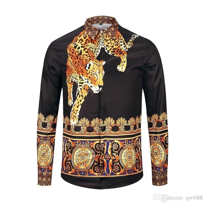 Hot CS New wave Fashion luxury men shirt designer 3D Floral Print long sleeve mens medusa Slim Fit Shirts688