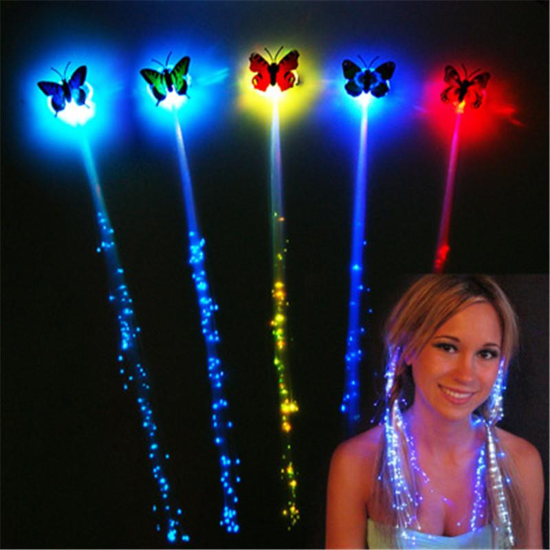 Fiber optic christmas halloween night light decoration luminescence LED hair extension butterfly flash braid party girl hair k285