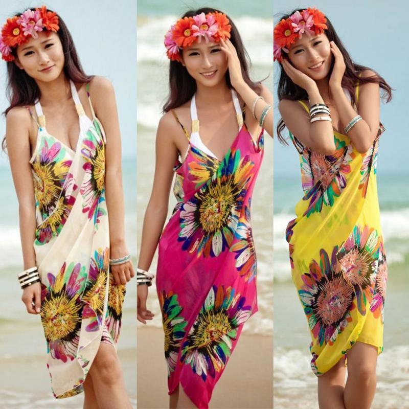 BNC Women Beach Dress Sexy Sling Beach Wear Dress Sarong Bikini Cover-up Wrap Pareo Gonne Towel Open-Back Swimwear # 829