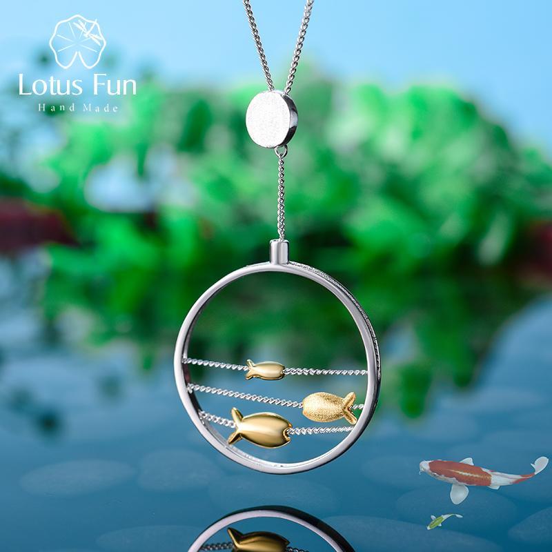 Lotus diversión real 925 joyería fina hecha a mano linda creativa en movimiento feliz Peces colgante sin collar para la Mujer
