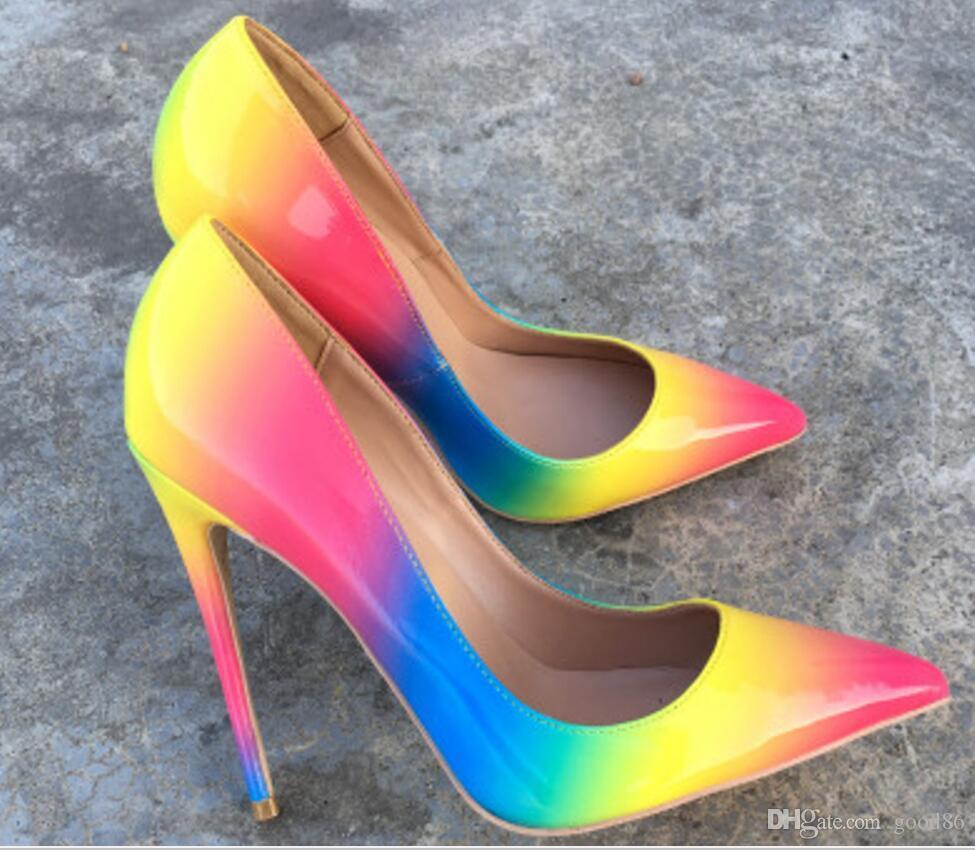 Novo estilo arco-íris fino salto alto sapatos de salto alto ponto feminino soled vermelho-soled rasa boca sapatos 8cm 12cm 10cm tamanho grande 44 dança de casamento