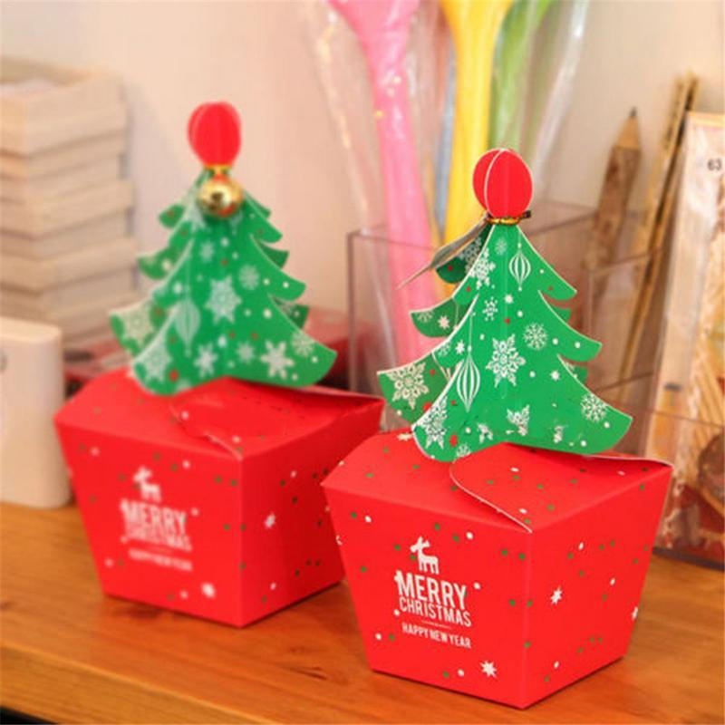 1pc Paperboard Red Christmas Tree Packing Box Cupcakes Dessert Cookies Candy Gift Xmas Apple Box with Bells New Year Supplies