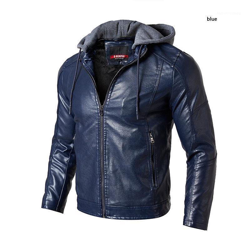 e jaqueta de couro dos homens de inverno nova de couro PU de negócios de couro dos homens casuais com capuz jaqueta hoodie de 2018 outono