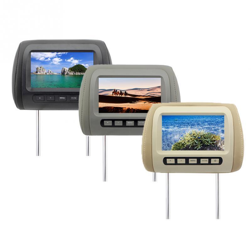 Universal de 7 pulgadas reposacabezas monitor TFT pantalla LED del asiento del coche MP5 reproductor de DVD reposacabezas monitor Volver entrada dual altavoz incorporado IR / FM