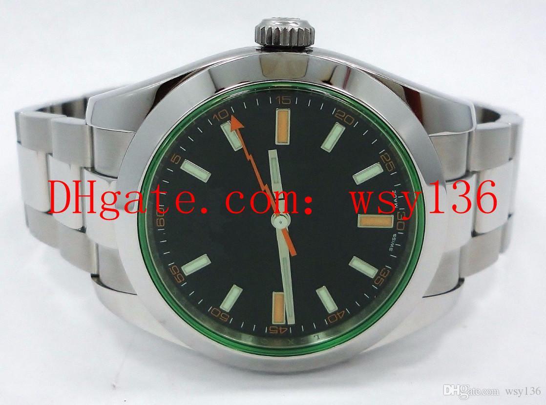 Top Quality Luxury 116400 Green Crystal quadrante nero Bracciale in acciaio inossidabile Mens Orologio meccanico automatico 40 millimetri Brand New Casual orologio da polso