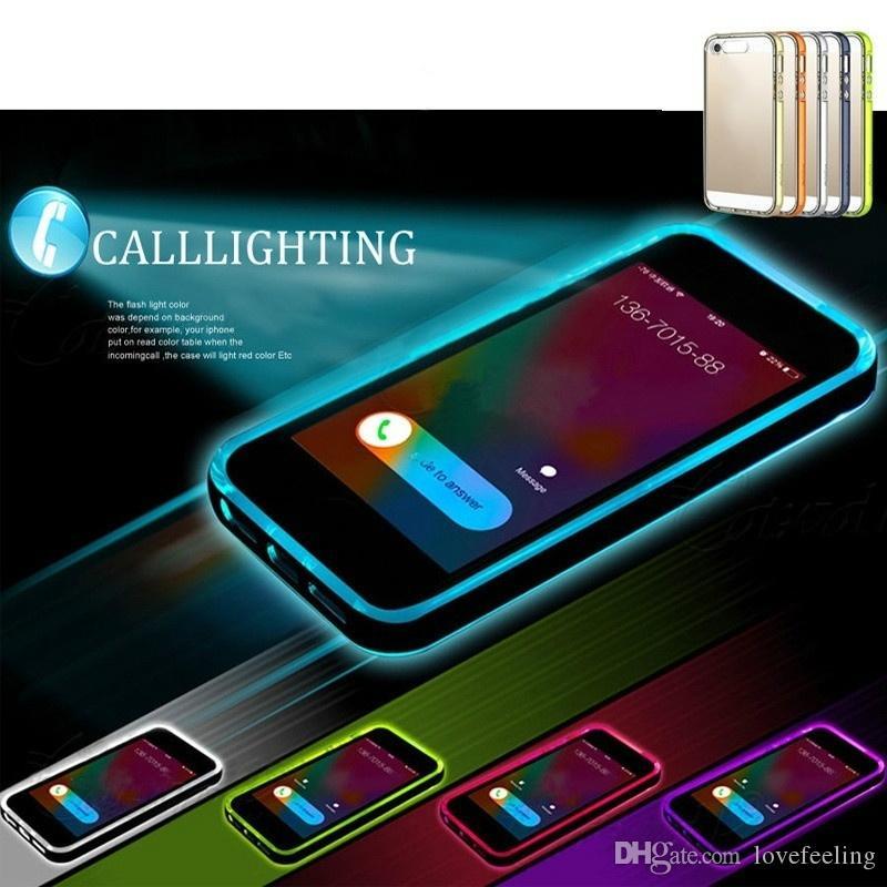 Custodia In TPU Retroilluminazione A LED Chiamata Flash Cover Samsung S5 / S6 / S6 Edge Note 3/4/5 IPhone 5S 6 / 6S Plus 4.7 5.5 Da Lovefeeling, 2,26 ...
