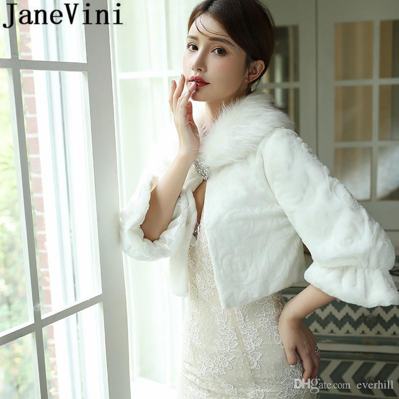 JaneVini Winter Warm Wedding Bride Shawl Women Faux Fur Wrap Wedding Cape Mariage 2020 Evening Dress Bridal Fur Coat Shrug Stole